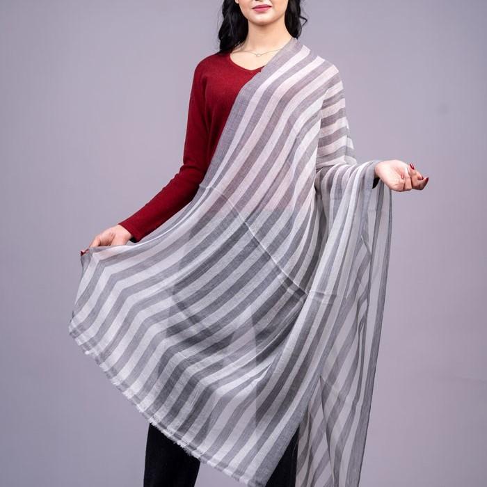 """100% Cashmere Striped Stole 28""""×80"""""""