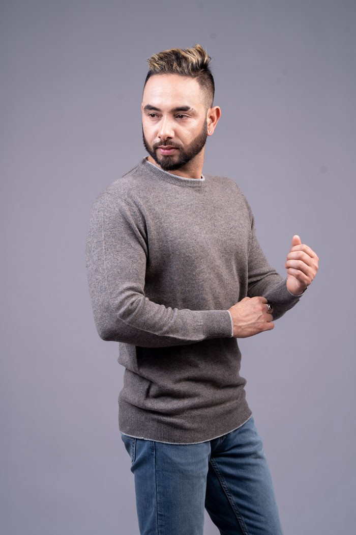 100% Pure Cashmere Gents Round-neck pullover
